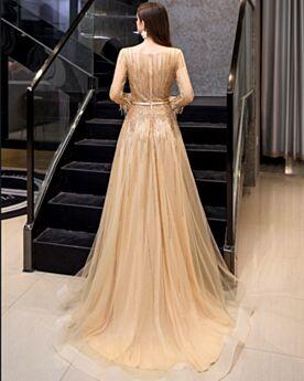 Abendkleider Gold Perlen Pailletten Strasssteine Glitzernden Transparentes A Linie Lange Partykleider Lange Ärmel