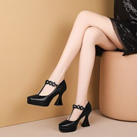 Black Pumps Shoes Classic 3 inch High Heel Leather Platform