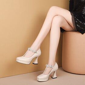 3 inch High Heel Beige Leather Platform Ankle Strap Pumps