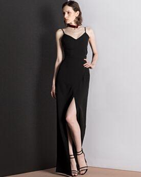 Escote Corazon Vestidos De Noche Sin Espalda Largos Sencillos Negro Vestidos Para Ir A Una Boda De Tirantes Slip Dress