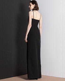 Fendue Simple Robe De Soirée Longue Noir Bretelle Mousseline