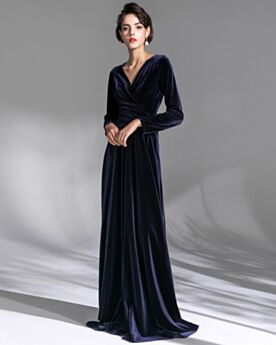 Wrap Velvet Mother Of Bridal Dresses Long Sleeve Simple 2020 Evening Dresses Vintage Navy Blue