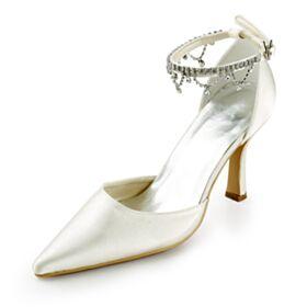 Mit 8 cm High Heel Brautschuhe Elegante Knöchelriemen Mit Strasssteine Sandaletten Stilettos