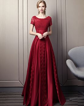 Formal Evening Dresses Occasion Gowns Burgundy Lace Prom Dresses Elegant Fit And Flare Satin Long Appliques