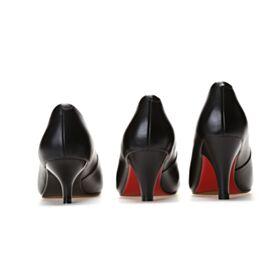 Tacon Medio Zapatos Clasicos Piel Sencillos Suela Roja Negro Informales Vestido Para Trabajo
