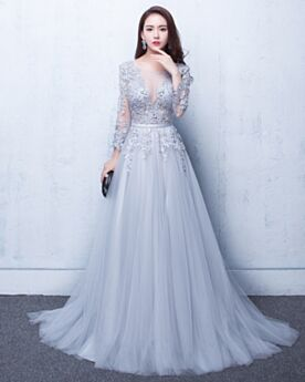 Appliques Tulle Homecoming Dresses Light Blue With Train Evening Dresses Sexy Princess Low Cut Lace 2018 Open Back
