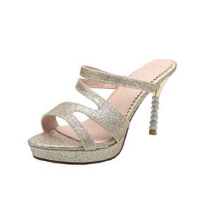 Luccicante Tacchi A Spillo Dorati Tacco Alto 10 cm Glitter Sandali Donna