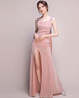 Homecoming Dresses Split Glitter Beautiful Fit And Flare Backless Blush Pink Long