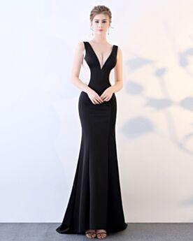 Ärmellos Meerjungfrau Transparentes Lange Abendkleid Tiefer Ausschnitt Satin Schönes Cut Out Schwarze