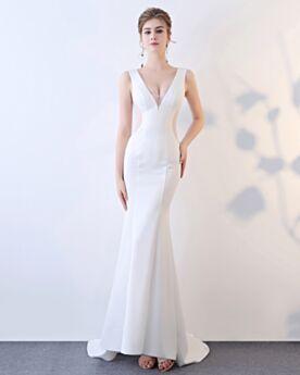 Ärmellos Cut Out Meerjungfrau Abendkleider Satin Weiß Tiefer Ausschnitt