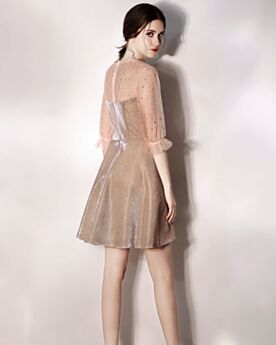 Transparent Sparkly Half Sleeve Tulle Semi Formal Dresses Glitter Short Champagne Cocktail Dresses Ruffle