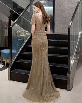Bleistift Rückenausschnitt Elegante Verlobungskleider Glitzernden Strasssteine Braun Festliche Kleider Tüll Kurzarm Abendkleider Pailletten