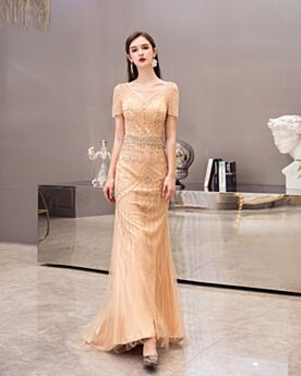 Sheath Elegant Long Gold Evening Dresses Short Sleeve Sparkly Engagement Dresses Sequin