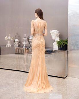 Lange Abendkleider Glitzernden Pailletten Kristall Bleistift Rückenausschnitt Strasssteine Galakleid Festliche Kleider