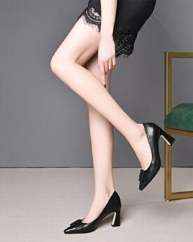 8 cm Talon Haut Classique Chaussures Travail Cuir Escarpins Talons Carrés Noir D ete