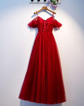 Robes De Soirée Epaule Dénudée Robe De Ceremonie Longue Dos Nu Bretelles Fines Tulle Rouge Belle À Volants