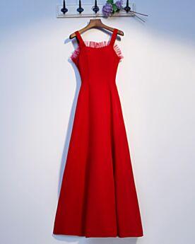 Trauzeugin Kleid Lange Rot Hochzeitsgäste Kleider Rückenfreies Rüschen Schlichte Empire