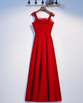 Red Bridesmaid Dress For Wedding Dress For Wedding Guest Long Simple Open Back