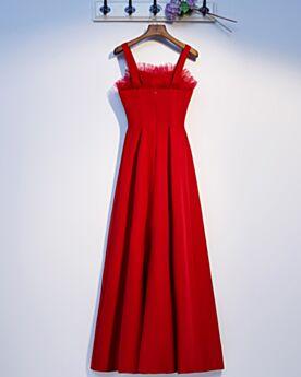 Robe Pour Mariage Longue Robe De Demoiselle D honneur Empire Col Carré Rouge Satin Bretelles Fines Dos Nu
