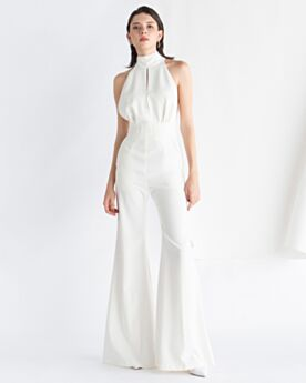 Open Back Jumpsuits Bow White Chiffon Sleeveless Formal Evening Dresses Halter