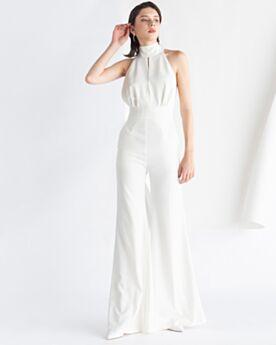 Open Back Jumpsuits Bow White Chiffon Sleeveless Formal Evening Dresses Halter
