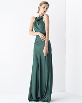 Verde Smeraldo Abiti Da Cerimonia Eleganti Stile Impero Semplici Spalle Scoperta Collo Alto Di Raso