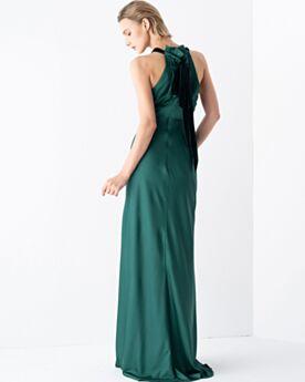 Imperio Vestidos De Fiesta Hombros Al Aire Cuello Alto Largos Verde Esmeralda Elegantes