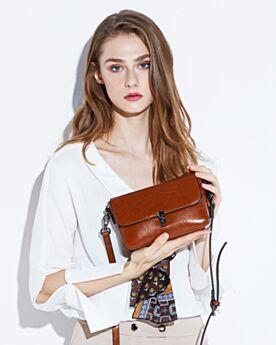 Crossbody Brown Vintage Leather Womens Bag Classic Full Grain Shoulder Bag Soft
