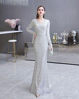 Elegante Silber Abendkleider Glitzernden Meerjungfrau Lange Lange Ärmel Pailletten