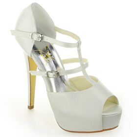 Spring 5 inch High Heeled Platform Bridal Shoes Sandals For Women Stilettos Elegant Ivory Peep Toe Strappy