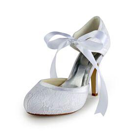 Punta Redonda Tacones Altos De Encaje Sandalias Stilettos Blancos Elegantes Zapatos Novia