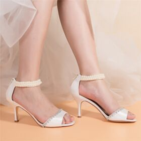 Open Toe White 8 cm High Heel Ankle Strap Thick Heel Bridals Wedding Shoes Charming Sandals