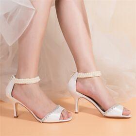Tacco Largo Con Tacco Alto Eleganti Sandali Donna Bianco Con Perle Estivi Con Strass Di Raso