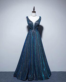 Glitter Long Slate Blue Sparkly A Line Formal Evening Dresses Plunge Simple