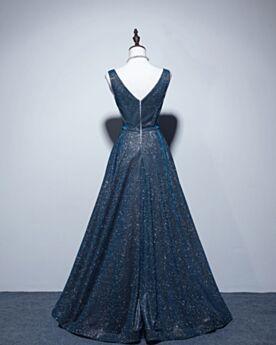 Robe De Soirée Longue Décolleté Brillante Sans Manches Bleu Nuit Glitter