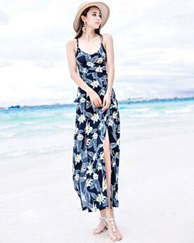 Strandkleidung Kleider Swing Sommer Chiffon Casual Kleider Tiefer Ausschnitt Rückenfreies Mit Schlitz Maxi