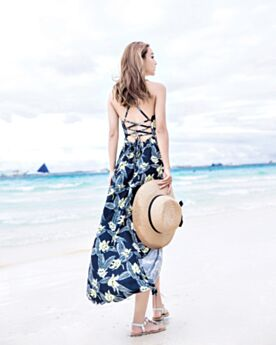 Long Swing Bohemian Summer Slit Beach Dress 2018 Plunge Dress