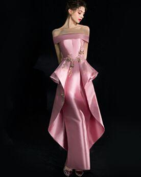 Lunghi In Raso Cipria Vestiti Ballo Peplum Dress Personalizzato Scollo A Barca Eleganti Abiti Da Cerimonia Abiti Da Sera