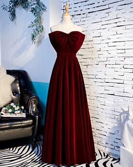 Empire Kleider Hochzeitsgäste Ärmellos Tragerloses Abendkleid Brautjungfernkleid Schulterfreies Schlichte Lange Samt Rückenausschnitt