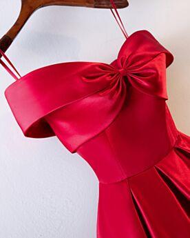 Simpele Open Rug Empire Spaghettibandjes Bruidsmeiden Jurken Off Shoulder Rode Avondjurken Jurken Bruiloft Feestjurk