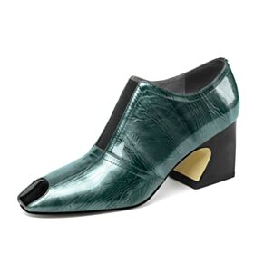 Boots Printed Chelsea Block Heels Green Office Shoes Thick Heel 2019 Booties Patent 6 cm Heel Leather