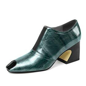Modern Blokhakken 6 cm Heel Lak Zakelijke Schoenen Dames Enkellaarsjes Chelsea Smaragdgroene