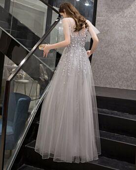 Open Back Short Sleeve Beading Tulle Sweet 16 Dress Princess Bohemian Gray Prom Dresses Long Sequin