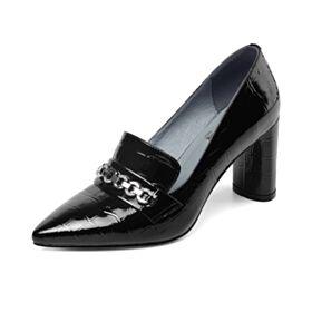 Chaussures Travail Talons Carrés Cuir Bout Pointu Classique Noir Escarpins Talons Hauts