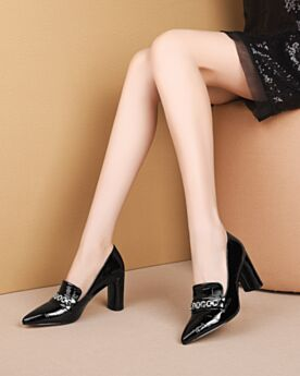 Classic Chunky Heel Leather Pumps Black 8 cm High Heel