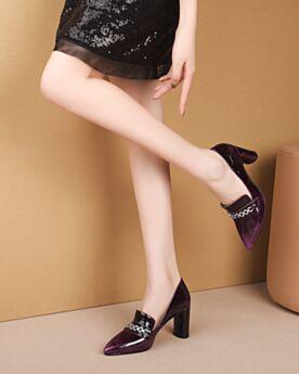 Bout Pointu Escarpins 8 cm Talon Haut Cuir Talon Carrés Classique Chaussures Travail