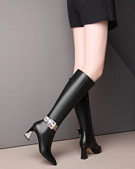 Klassisch Schwarz Lack Gefütterte Stiefel Damen Chunky Heel