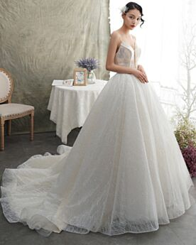 Glitter Church Beading Spaghetti Strap Low Cut White Luxury Backless Sparkly Ball Gowns Wedding Dresses Sleeveless