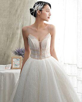 深 v ネック キラキラ ホワイト ロング ウェディングドレス ゴージャス グリッター バックレス 4220230531