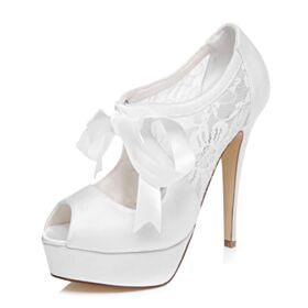 Chaussure Mariage Escarpins 13 cm Talon Haut Blanche Talon Aiguille Plateforme Avec Noeud Élégant Satin Peep Toes